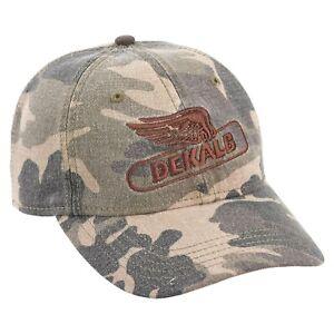DEKALB SEED *KHAKI RED BLUE TWILL* Trademark Logo CAP HAT *BRAND NEW* DS17