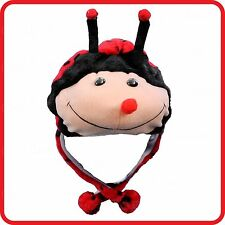 RED LADYBUG LADYBIRD ANIMAL CARTOON PLUSH FLUFFY HOODED HAT CAP BEANIE EARMUFF