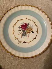 Wood & Sons England Plate Roses Blue Gold