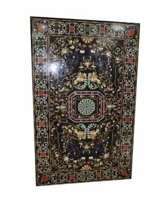"""72"""" x 42"""" Center Dining Table Top Black Marble Pietra dura Inlay Work"""