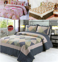 3Pcs Quilted Bedspread Throw Set Comforter 2 Pillow Cases Shams Double King Size