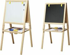 Childrens Painting Easel and Blackboard, Wooden Art Easel for Kids, Childs