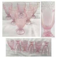 Vintage Gorham PINK Glass Pedestal Goblets 14 oz. Hobnail Herringbone Set of 6