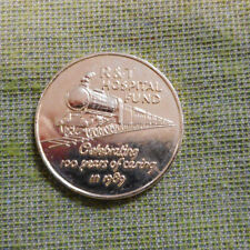 #D400.  1889 to 1989 R & T HOSPITAL FUND  MEDAL - TRAIN THEME