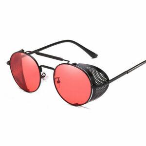 Steampunk Retro 90s Sunglasses Men Women Round Metal Circle Side Shield Glasses