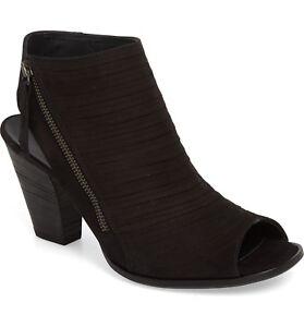 $350 PAUL GREEN Cayanne  Peep Toe Sandal BOOTIE BLACK SUEDE NUBUCK 8.5 (3)(PG2)