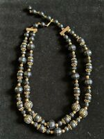 Vintage Black Gold Tone Faceted Bead Double Multi Strand Choker Necklace