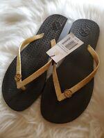 White sole Flip Flops Sandals NWOT E3 So American Heritage Black