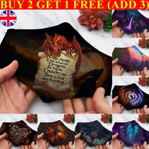 Adult Unisex Cotton Face Mask W/ Filter Pocket Reusable Washable Dragon Skull #