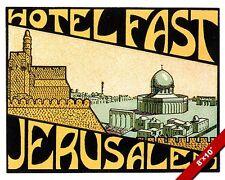 VINTAGE JERUSALEM HOTEL ADVERTISEMENT TRAVEL AD POSTER ART REAL CANVAS PRINT