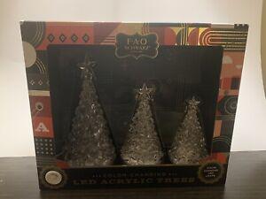 FAO Schwarz Set of 3 LED Color Changing Acrylic Christmas Trees