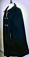 L Vintage Victorian Wool Cape Style coat black cloak Dickens Winter costume