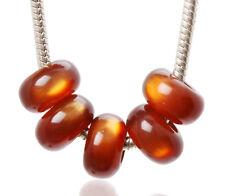 Lots 20pcs Brown Cat-eye Styles Resin Big Hole Beads Fit European Bracelet Charm