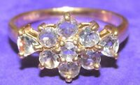 SECONDHAND 9ct YELLOW GOLD MULTI TANZANITE OVAL CLUSTER RING SIZE N