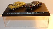COFFRET ATLAS DUO 2 METAL UH PEUGEOT 604 SL VERTE 1976 + OFFICIELLE 1977 HO 1/87