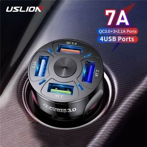 USLION 4 Ports USB Car Charge 48W Quick 7A Mini Fast Charging For iOS & Android