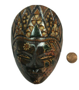 "Indonesian Art Hand Painted Carved Wood Batic Mask Java Wall Art 5""H Decor Art"