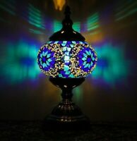 Handmade Mosaic Glass Moroccan/Turkish Lamp Blue