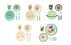 Sass and Belle Kids Childrens 5 Piece Fun Eco Friendly Bamboo Dinner Set