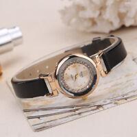 Women Fashion Watches Leather Band Diamond Analog Quartz Movement Wrist Watch