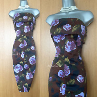 Size 12 UK Karen Millen Burgundy Vintage Floral Rose Pencil Dress Occasion Races
