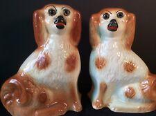 "STAFFORDSHIRE ANTIQUE PR MANTLE DOGS SPANIEL CARAMEL CREAM GLASS EYES 11""1800'S"