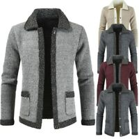 Mens Winter Thick Fleece Lined Knitted Cardigan Jumper Warm Top Blazer Outwear