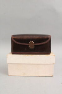RARE Antique 19thC Unused, Shaker, Bronzed Leather & Silk Sewing Case & Box