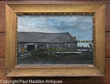 Antique Oil Painting of Fairhaven Boathouse - Johnson & Howland