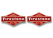 """2 FIRESTONE Vintage Sign 7"""" Decals Tires Signs Display Ashtray Vinyl Stickers"""