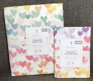 Pottery Barn Kids Organic Retro Nostalgic Heart Sheet Set Twin White &Extra Case