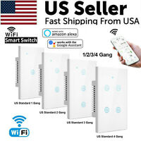 1/2/3/4 Gang WiFi Smart Wall Touch Light Switch Glass Panel For Alexa/Google APP