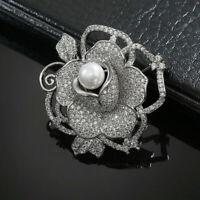 Broche Pin Argenté Gros Fleur Rose Perle Culture Blanc CZ Plaqué Or G8 36