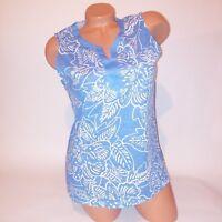 CJ Breeze Womens Tank Top Blue White Floral Sleeveless