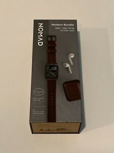 Nomad Modern Bundle Leather Strap for Apple Watch 44/42mm & Airpods Case Brown