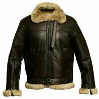Mens Aviator Pilot RAF Real Shearling B3 Flying Bomber Sheepskin Leather Jacket