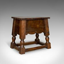 Antique Locker Seat, Victorian dans Jacobean touche, English Oak Joint stool c.1900