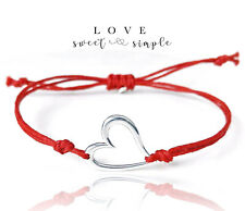Sterling Silver Open Heart Charm Red Cord Adjustable Cord Bracelet - Love Gift