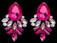 Betsey Johnson Sparkly Pink Crystal Feathers Dangle Gold Stud Earrings New