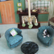 Vtg Dollhouse MID CENTURY GOLD CHANDELIER Lamp Light Lundby Petite Princess 1:16