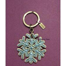 COACH Metallic Blue Snowflake Keychain Key Ring Fob Charm 92195