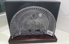 NEW Waterford Crystal NATIVITY CRECHE & Wooden Plinth Stand # 40023542 Backdrop