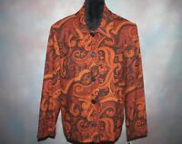 NWT! Briggs New York Women's Jacket Size 1X Brown Paisley Print w/ Shoulder Pads
