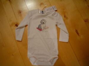 BABY-BODY  HUND , weiß   v. sanetta  Gr. 98+104