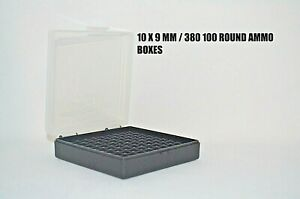 9 mm / 380 Ammo cases / boxes (10 PACK) CLEAR color 1000 rnds of storage 9 mm