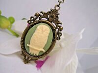 BRONZE Vintage Style Owl Pendant Necklace Cameo Green Antique White Steampunk