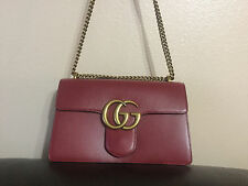 AUTHENTIC GUCCI MARMONT GG CHAIN SHOULDER BAG RED LEATHER