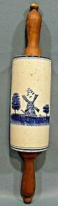 Antique BORMO DELFT Blue/White Stoneware WINDMILL/SHIP Holland Wood  ROLLING PIN