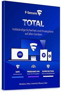 F-Secure Total Security 2021 3PC / 5PC / Geräte / 1 Jahr / 2 Jahre