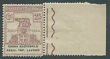 1924 REGNO PARASTATALI CASSA NAZIONALE LAVORO 25 CENT LUSSO MNH ** - M38-5